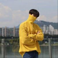 Mens High Neck Sweater Baggy Casual New Turtleneck Knitting Winter Oversize Warm