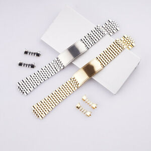 18 20mm 316L Steel Hollow Curved End Rice Bead Watch Band For Omega Geneve