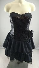 EUC Betsey Johnson Black Sequence strapless flower frilly cocktail dress size 2