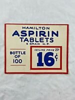 Vintage - Advertising - Cardboard Sign - Hamilton Aspirin - Medical - VERY RARE