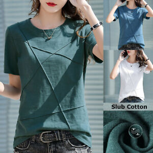 Women Slim T-Shirt Blouse Loose Tops Round Neck Short Sleeve Solid Color Cotton