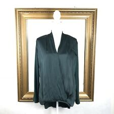 Dolan Anthropologie M Blouse Top Drape High Low Forest Green Long Sleeve V Size