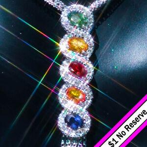 Sapphire Necklace 14K Gold Sapphire Ruby Diamond Italian Estate Pendant Necklace