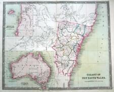 AUSTRALIA NEW SOUTH WALES DOWER TEESDALE  ENGRAVED MAP ORIGINAL HAND COLOUR 1844