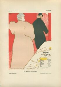 TOULOUSE LAUTREC original lithograph, L'ARGENT, limited edition printed in 1898