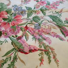 9 Piece LOT of Vintage WAVERLY SONG BIRDS Fabric PINK CREAM Green Floral
