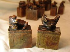 12 Chinese Zodiac Soapstone Animal Seal Antique Chop Stamp Set Ink Stones in Box