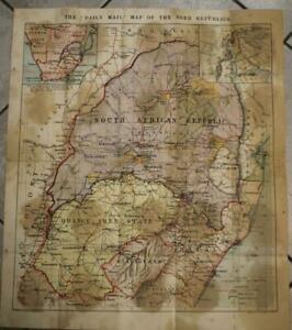 BOER WARS BOER REPUBLICS SOUTH AFRICA 1899 PHILIP & SON UNUSUAL ANTIQUE MAP