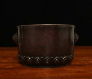 OLD RARE CHINESE COPPER INCENSE BURNER ZHEN WAN MARKED (A124)