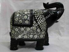 """16"""" Black Marble Elephant Statue Mother of Pearl Inlay Precious Stone Gift E1325"""