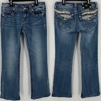 Miss Me Jeans Womens Sz 28 Boot Feathers Embroidered Studded Hemmed Flap Pockets