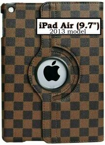 """Apple iPad Air (9.7"""" inch - 2013) Brown Checkered Plaid Stand Cover Case Pouch"""