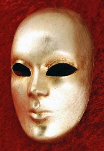 Mask from Venice Face Volto Silver Paper Mache Carnival Prom 1671 VG3F