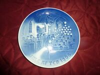"1968 Bing and Grondahl B & G 7"" Plate ""Christmas in Church"" Blue & White (M0 37)"