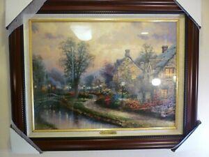 "Thomas Kinkade, Lamplight Lane, S/N LE, beautifully framed, 18"" X 24"", brandy"