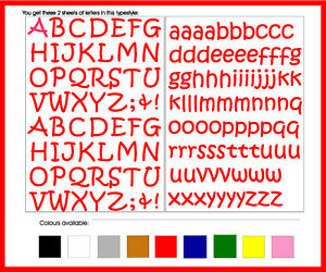 SELF ADHESIVE LETTERS stickers graphi Handstyle 20mm OR 25mm high vinyl alphabet
