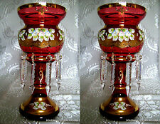 Czech Bohemian Slavia Hi Enamel Ruby Red Crystal Glass Mantle Lustre Vases 2pc