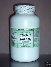 CoQ-10 q10 100mg co-enzyme, anti aging, cardio aid ~ 200 capsules. Made in USA.