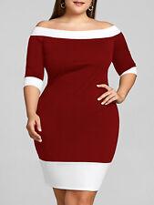 Plus Size XL-5XL Women Dress Off Shoulder Casual Bodycon Sheath Evening Party