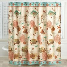 coastal shower curtain bath bathroom seaside beach seashell fish polyester