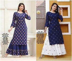Women Kurta Kurti with Bottom Dress Set Indian Ethnic Salwar Kameez Combo of 2