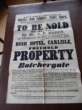 Bothchergate Carlisle Historic Poster rare survivor poor condition 1873