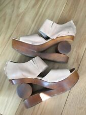 Jeffrey Campbell Skate Wedges Woodies Cut Out Nude 7 Leather