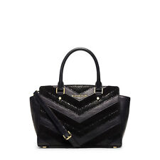 NWT Micheal Kors Medium Selma Black Chevron Satchel Patchwork Bag Mixed Media