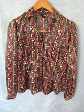 East 5th Women's Blouse Size Small Satin Shirt Skeleton Key Print Top