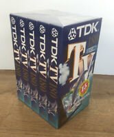 Pack of 5 TDK TV180  VHS Video Tapes Brand New and Sealed