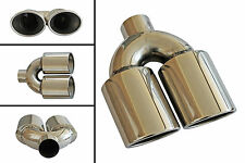 Ø 48mm Universal Stainless Steel Extension Double Exhaust Tip Tail Pipe /3011