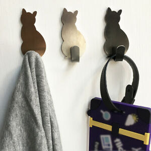 Cat Wall Hooks Self-adhesive Hanger Key Holder Adhesive Door Storage Hooks 2PCS