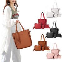 4pcs/set Women Handbag Messenger Leather Shoulder Bag Tote Purse Satchel Durable