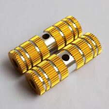 New Gold Ridged Design Solid Small Bike Foot Pegs 2.64in Length (2 Per Order)