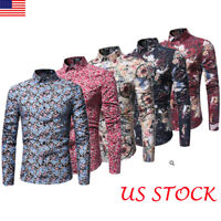 Fashion Men's Spring autumn Casual Dress Shirt Mens Floral Shirts Tops Tee