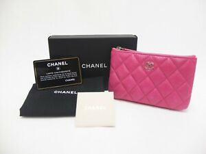 Authentic CHANEL Caviar Skin Matelasse Leather Pouch Pink Quilted