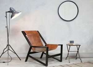 Nkuku Narwana Aged Tan Leather Lounge Chair Mid Century Modern Black Metal Frame