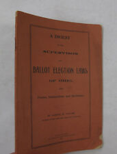 Government Politics Elections Digest Ballot Election Laws of Ohio Forms OH 1893