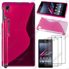 Housse Etui Coque Silicone S-line Rose Sony Xperia Z1 L39H+Stylet+3 Film écran