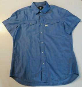 G.STAR Raw Mens Blue Cotton Short Sleeve SHIRT - SZ.XL