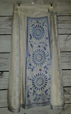 WOMENS SZ PXS Silk Blue Ivory Skirt SOFT SURROUNDINGS PETITE MAXI PEASANT