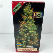 1999 LEMAX Fiber Optic Tree 9 Inch Shimmering Spruce Multi Color Christmas