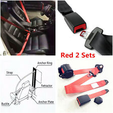 Universal 2 Set 3 Point Seat Belt Lap Safety Travel Retractable For Car Truck