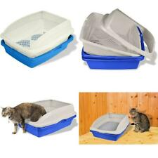 Sifting Cat Litter Box with Frame 3 Part Pet Cleaning, Blue/Gray Large Tray NEW