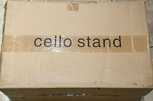 Music Cello Wooden Stand with Burgundy Velvet Plush Cushions - FREE SHIPPING!