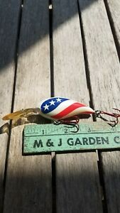 Vintage Fishing Lure - Bill Norman Red White Blue American Flag Middle N