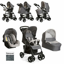hauck SHOPPER SLX Trio Travel System Pushchair Carrycot Car Seat Stone/grey