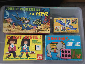 Lot Jeux Educatifs Vintage Volumetrix Fernand Nathan Loto Dominos