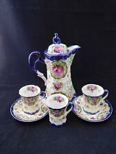 Pre-Nippon Cobalt & Roses/ Floral Chocolate Pot Set w/ 3 Demitasse Cups Gold