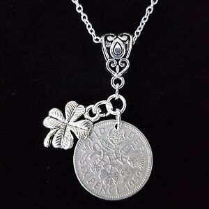 LUCKY ORIGINAL SIXPENCE GIFT NECKLACE WITH STERLING SILVER 925 HALLMARKED CHAIN.